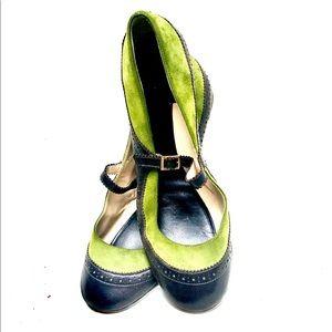 Kate Space Suede/Leather Kitten Toe Heels. Size 10